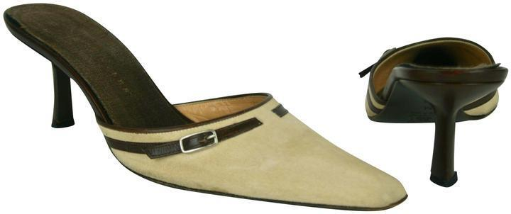 RICHARD TYLER BEIGE SUEDE WITH BROWN LEATHER TRIM & BUCKLE SHOES MULES SIZE 39.5