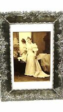 ANTIQUE 19c SILVER PLATE ORNATE  PICTURE FRAME W/WEDDING PHOTO  OF YOUNG LADY