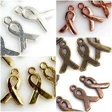 2//4//8PCs Autism Ribbon Charms 24mm Silver Plated Enamel Awareness Pendants