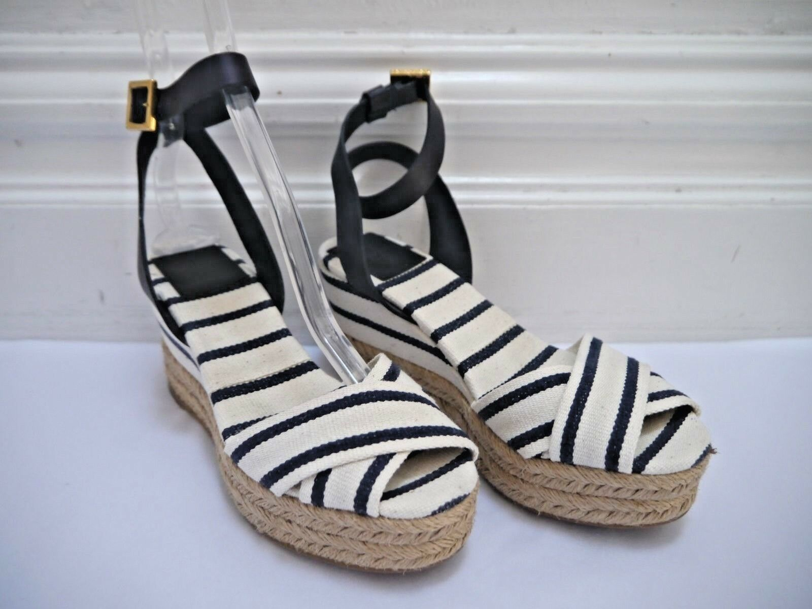 TORY BURCH Karissa canvas striped espadrille wedge sandals size 6 WORN ONCE