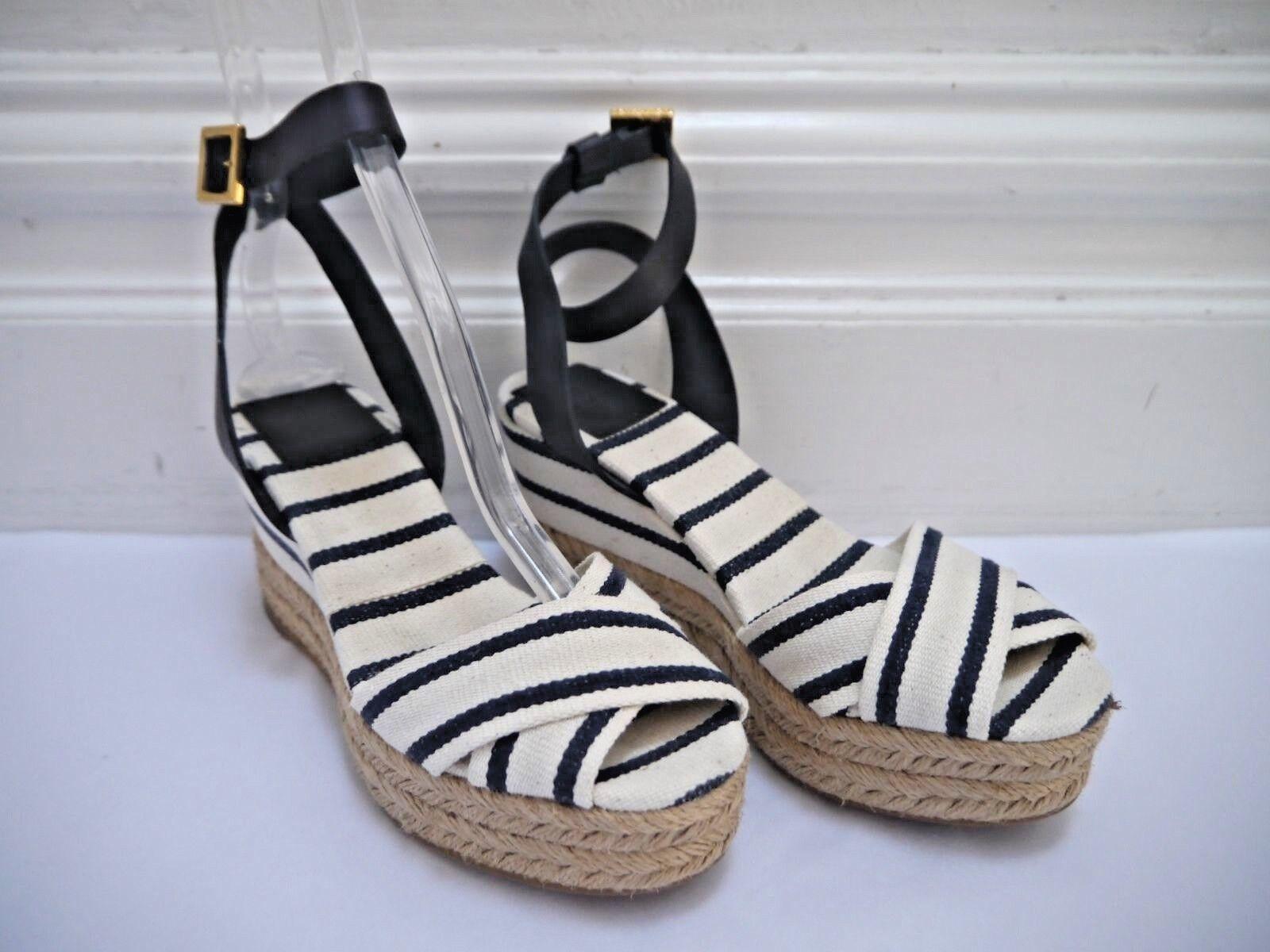 TORY BURCH Karissa canvas striped espadrille wedge sandals size 6 WORN ONCE