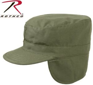 e441db2ac1028 Details about OD Green Military Style Cold Weather Patrol Cap Fatigue Hat  With Ear Flaps 5712