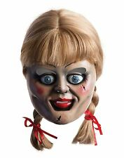 Official Adult Annabelle Horror Zombie Ghost Doll Conjuring Mask Wig Fancy Dress