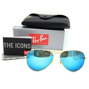 d170a28705 New Ray-Ban RB3026 112 17 Gold Aviator Sunglasses w  Mirrored Blue ...