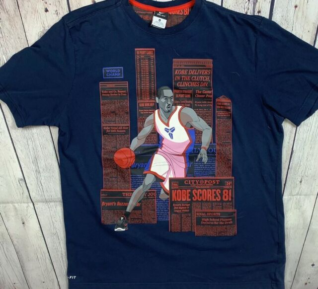 34370390 NIKE KOBE BRYANT DRI-FIT NEWSPAPER CLIPPINGS MILESTONE SHIRT SIZE Xl
