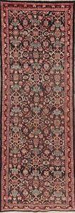 Antique-Vegetable-Dye-Dark-Brown-10-ft-Runner-Sultanbad-Wool-Rug-Handmade-3-039-x10-039