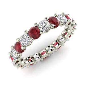 2.54 Ct Round Cut Diamond Engagement Ruby 14K White Gold Finish Eternity Band