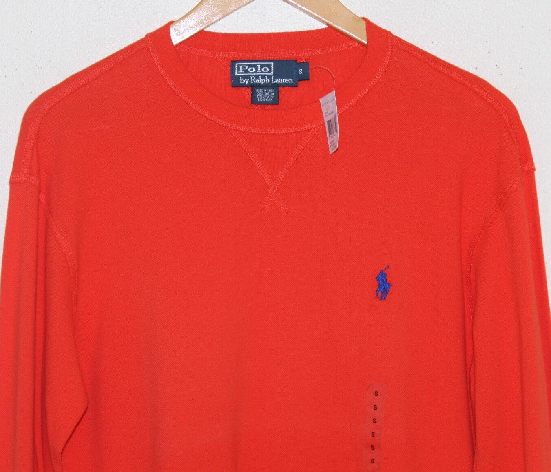 NWT Polo Ralph Lauren -Sz S orange Pony Pique Woven Lightweight Shirt Sweatshirt