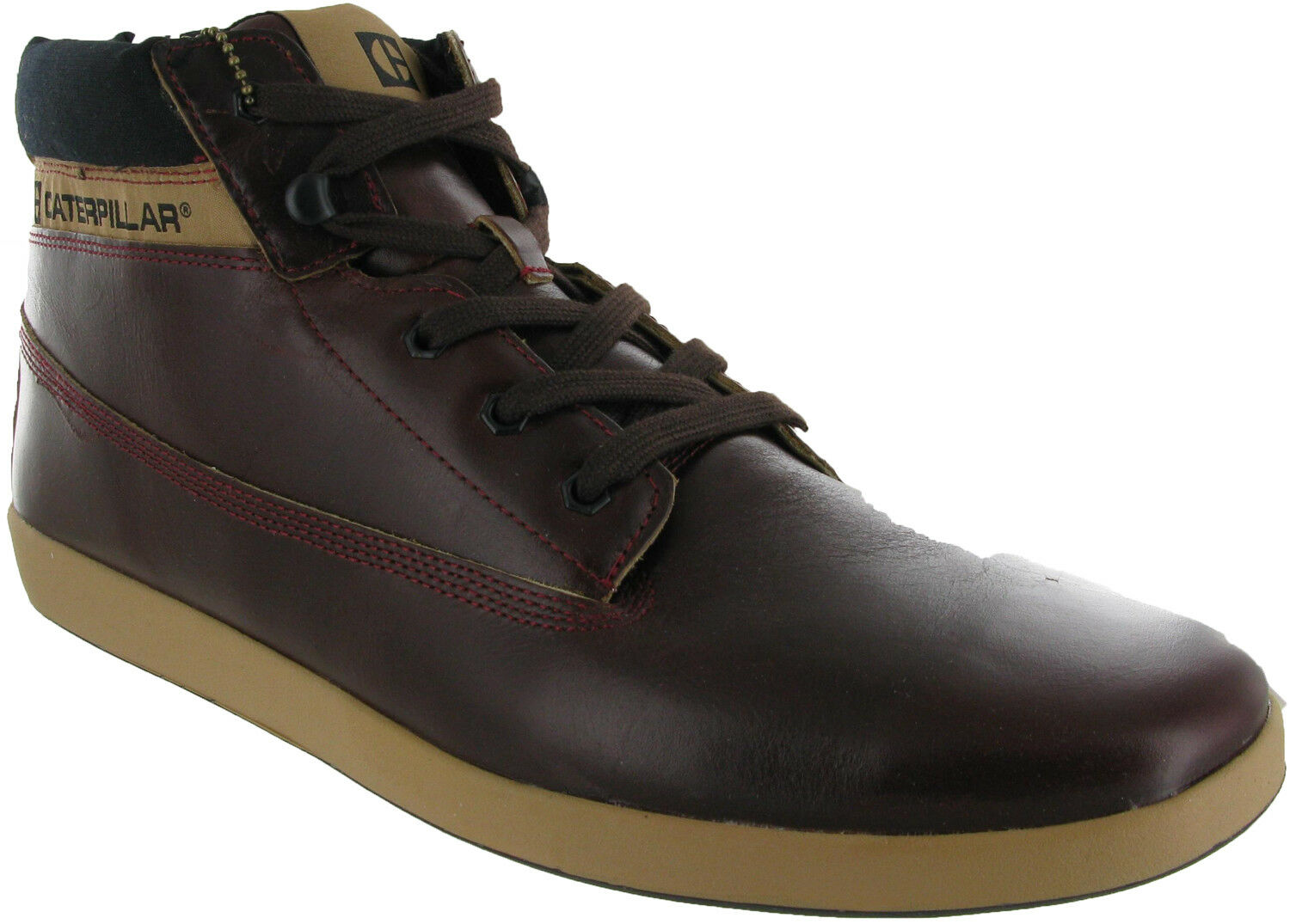 CAT Caterpillar Poe Mens Leather Casual Hi Trainers Lace Up Ankle Boots Trainers Hi Shoes 049d83