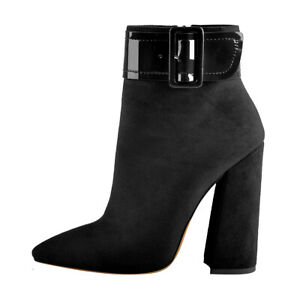 Womens Block Chunky Heeled Suede Comfort Zip Ankle Boots Square Toe Pumps