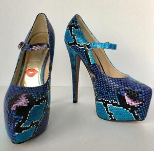82c6d0e0265 Details about Red Kiss Blue Snakeskin Platform Pump Heel Shoe Size 7.5  Exotic Mary Jane Black