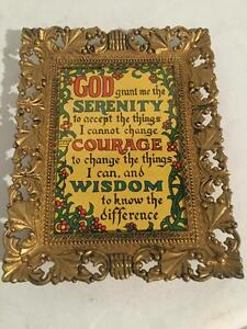 Vintage Plastic Ornate PICTURE FRAME Serenity Prayer Wedding Religious Wall