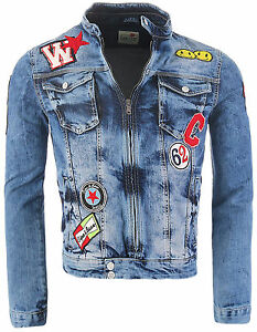 cipo baxx herren jeans jacke mit patches denim jacket. Black Bedroom Furniture Sets. Home Design Ideas