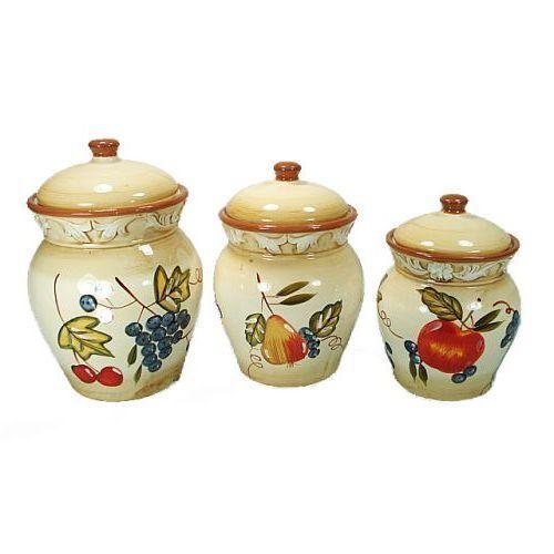 D'Lusso Designs 3 Pièce Céramique Canister Set Fruits Design