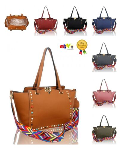 New Women/'s Gems Embellished Large Size Tote Hand Bag With Multi Colored Strap
