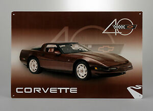 1993 Corvette 40th Anniversary Car Tin Metal Wall Sign GM Licensed 656910