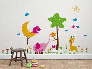 Wandtattoo Wandsticker Aufkleber Waldtieren Elefant Giraffe ...
