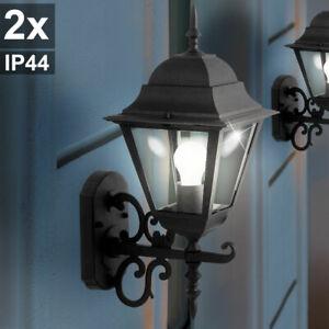 2er Set Außen Bereich Wand Lampen Terrassen Hof Laternen ALU Glas Leuchten IP44