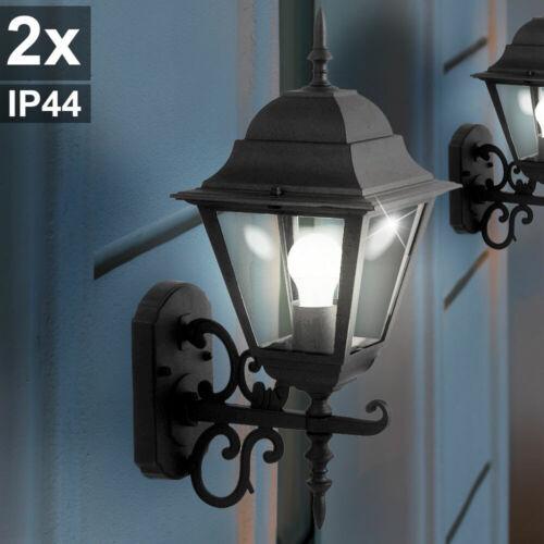 2x Wand Leuchten ALU Glas Strahler schwarz Antik Stil Hof Laternen Außen Lampen