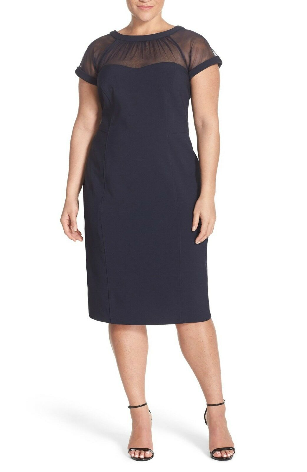 Maggy London Illusion Yoke Crepe Sheath Dress  (Plus Size) (size 24W)