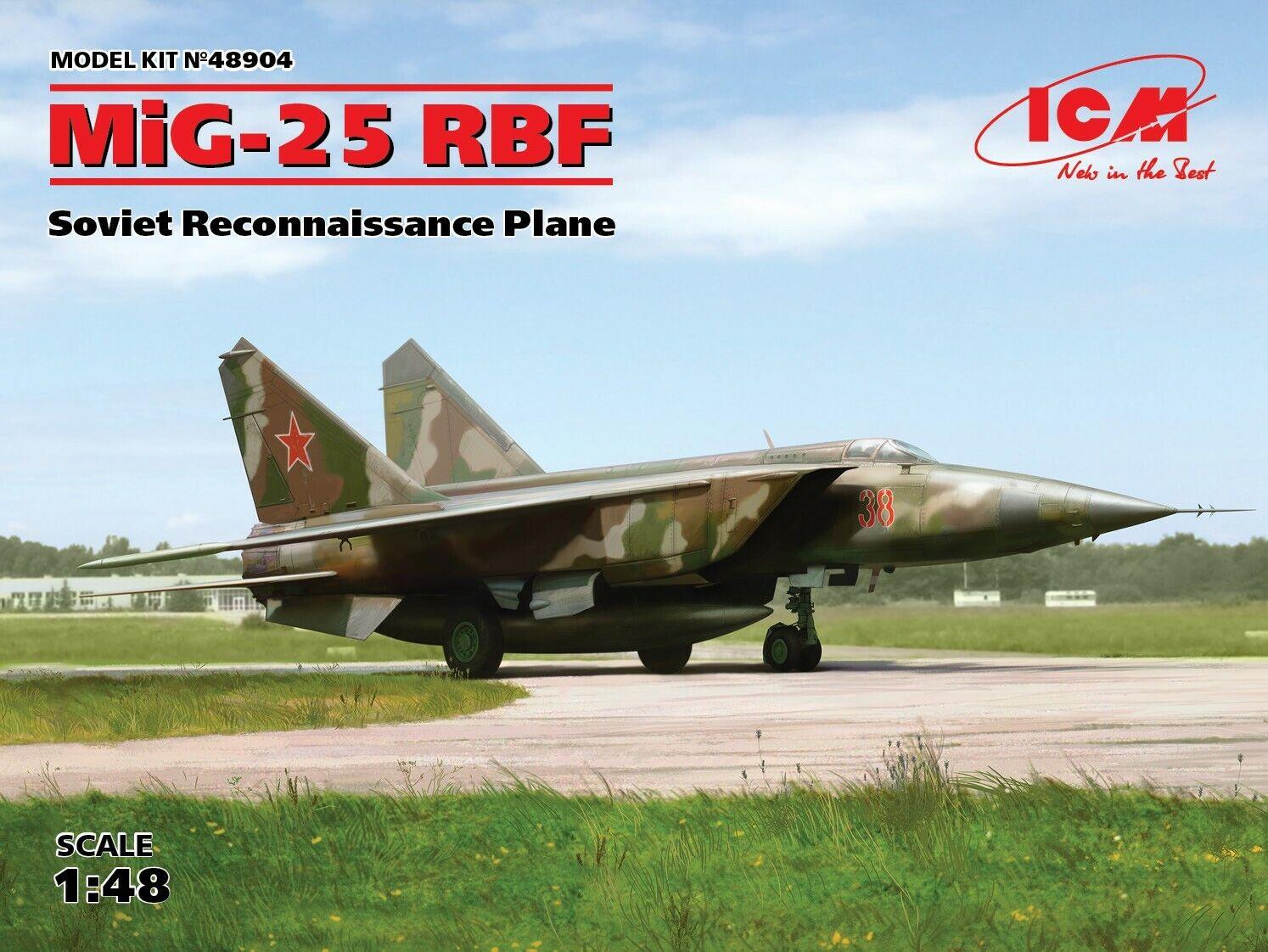 ICM 48904 MiG-25 RBF, Soviet Reconnaissance Plane 1 48 plastic model kit 448 mm