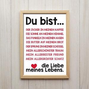 liebe spruch kunstdruck poster a4 geschenk deko wand bild druck rot schwarz love ebay. Black Bedroom Furniture Sets. Home Design Ideas