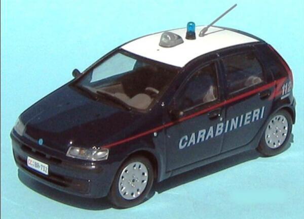 - Carabinieri Italia - Fiat Punto Elx - 2000 - Livrea 1/43 Police Polzei Polizia Rimozione Dell'Ostruzione