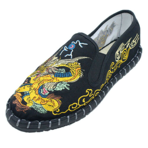Homme Style Chinois Broderie Slip On Mocassins Kungfu Casual Flats Canvas Shoes