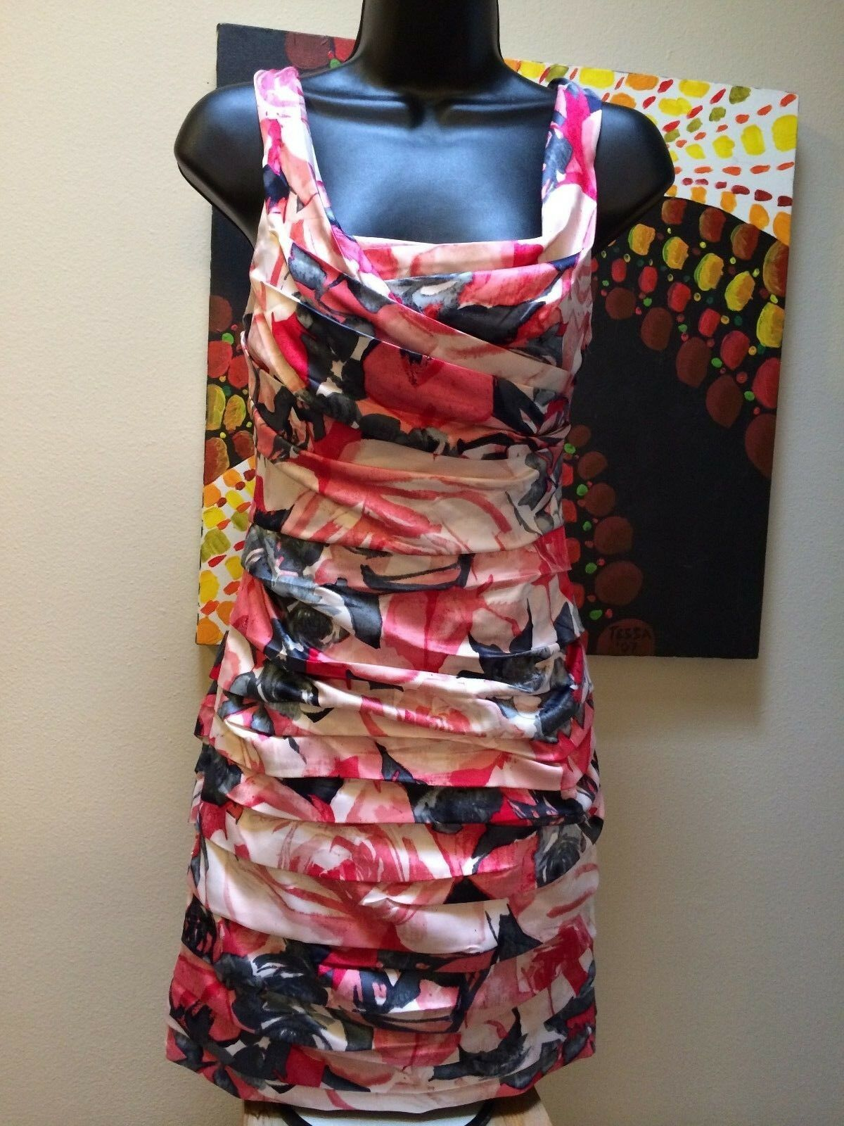 NWT  Express Fashion Women's floral Silk feel Ruched fitted Dress Women's Sz 2