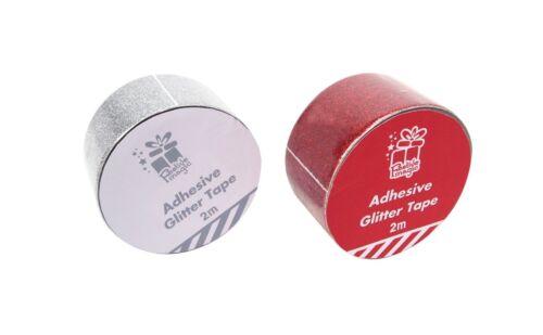 rouge /& argent Colle paillettes ruban 48 mm x 2 m disponible en or XM0340