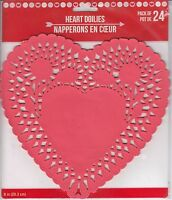 Valentine's Day Heart Paper Doilies Decorative Craft Party Favor Red 24 Ct