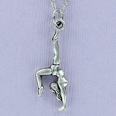 Gymnast Necklace Pewter Charm on Plated Chain Balance Beam Gymnastics 3D NEW