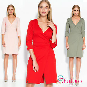 485ea0f9773c Ladies Sexy Vee 3/4 Sleeve Fitted Waist Knee Length Bodycon Wrap ...