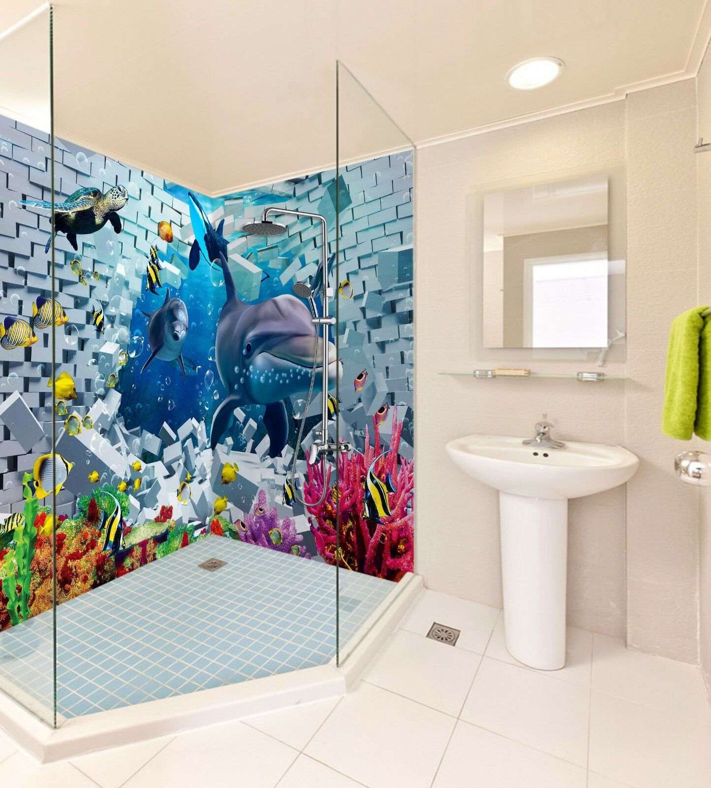 3D Smiling Dolphin 7160 WallPaper Bathroom Print Decal Wall Deco AJ WALLPAPER AU