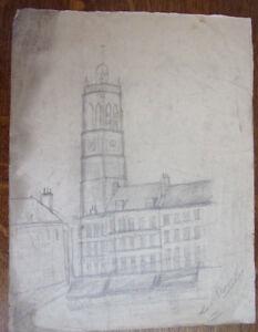 2 Dessins Au Crayon. Village De France, Tour Et Boutiques Circa 1940