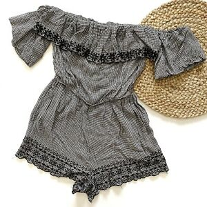 American Eagle Outfitters Women's XS Romper Gingham Black White Puff Sleeve