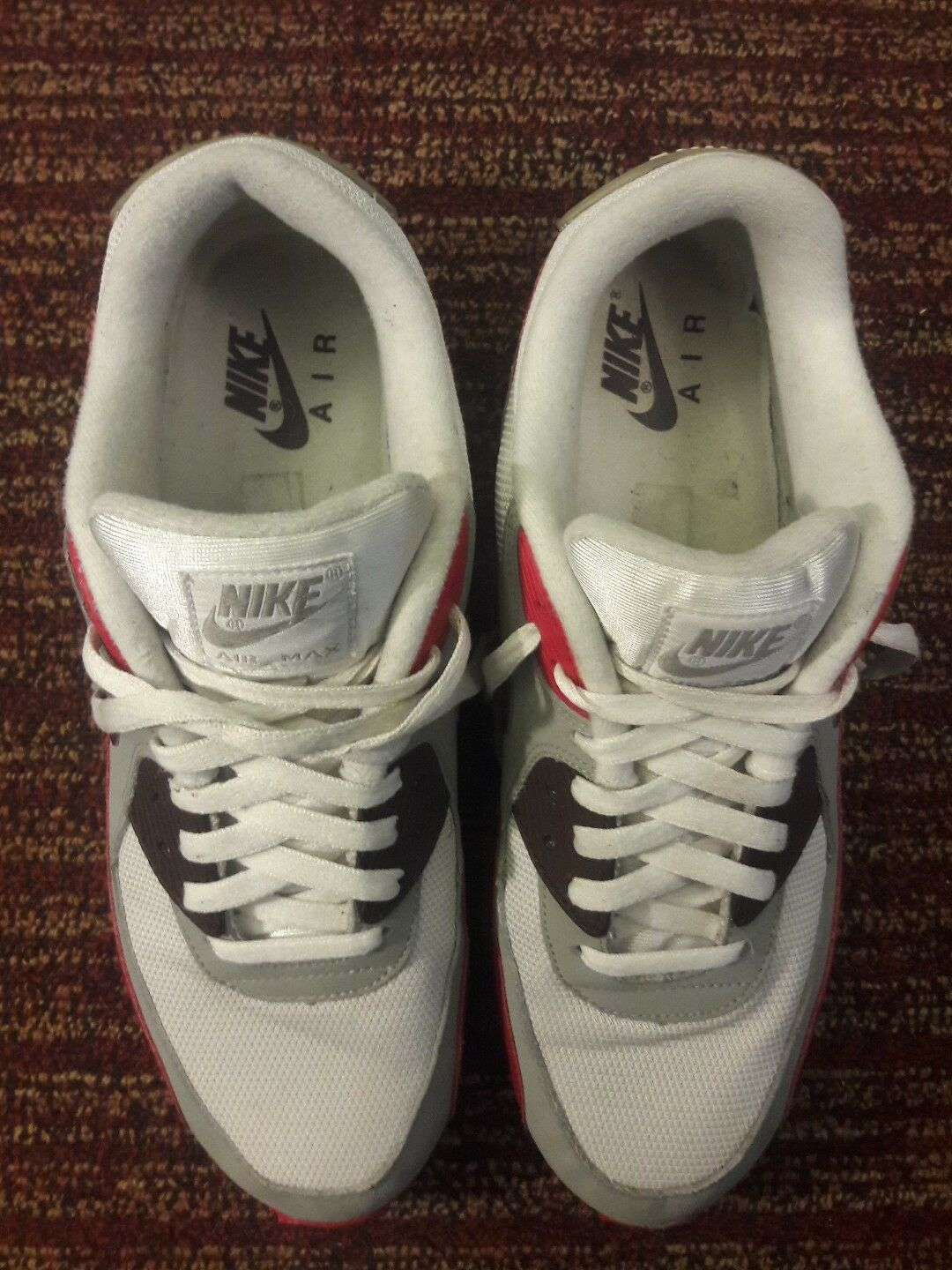 2011 Nike Air Max 90 White DEEP BURGUNDY Versity RED  OG Infare 325018-603 11.5 Cheap and beautiful fashion