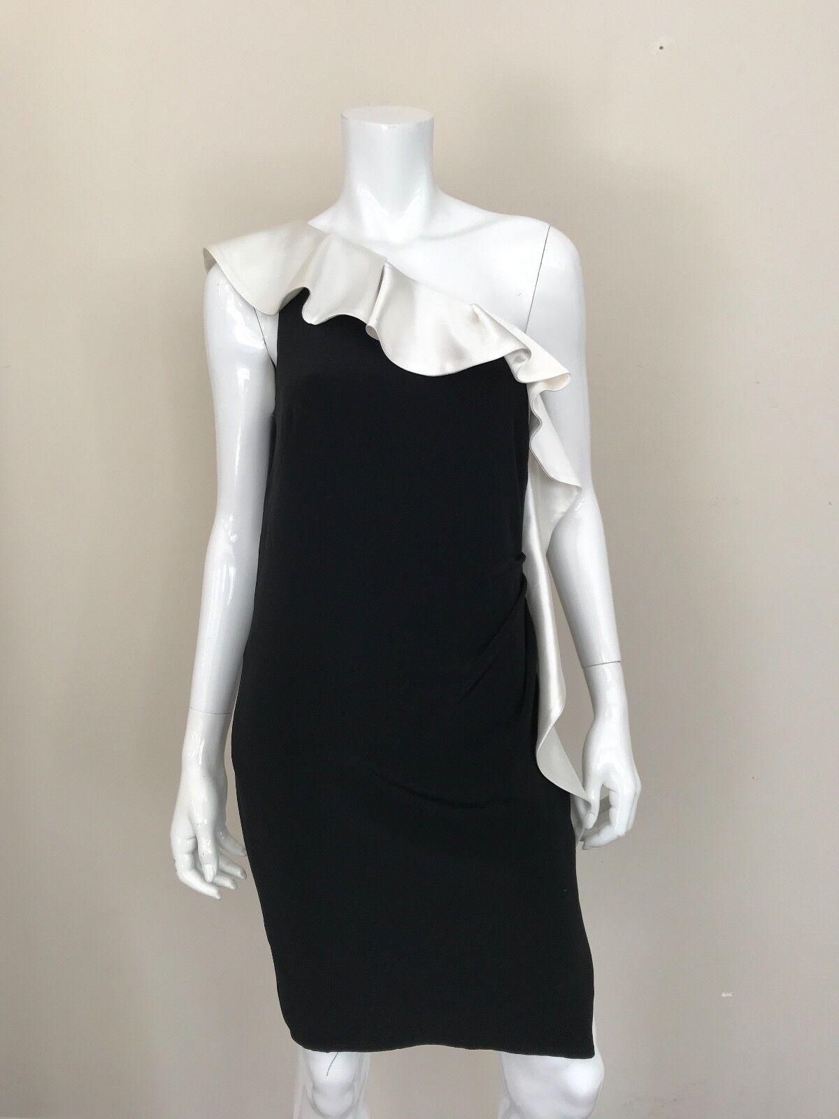 ABS Woherren Solid schwarz Weiß One Shoulder Bodyfit Party Cocktail Dress Größe 10