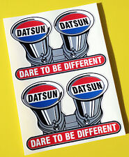 DATSUN 'DARE TO BE DIFFERENT' vintage classic style stickers decals METALLIC Ink