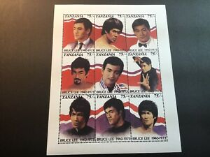 Tanzania-Scott-810-A-I-MNH-Bruce-Lee-Sheet-Of-9-Stamps-Free-Shipping-Must-See