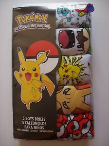 Pokemon Underwear Underpants Briefs Boys 5pk Sz 4 6 8 Gotta catch 'em all! NIP