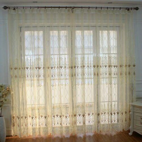 Europäisch Bestickt Vorhänge Netzstoff Tüll Fenster Drapiert Querbehänge Sheer