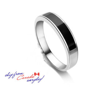 Unisex S925 Sterling Silver Black Agate Ring/18K Platinum Plated/Couple's Ring