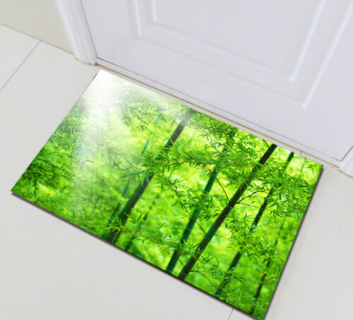 Bathroom Polyester Fabric Shower Curtain Set Sunlight Spring Green Bamboo Forest