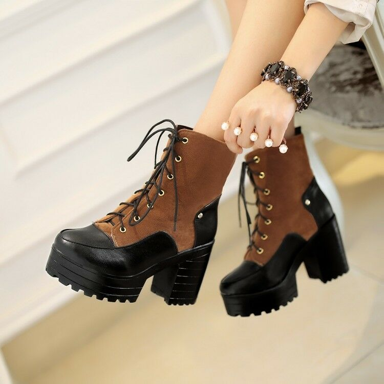 Womens Chunky High Heels Platform Lace Up Martin Ankle Boots shoes Plus Size