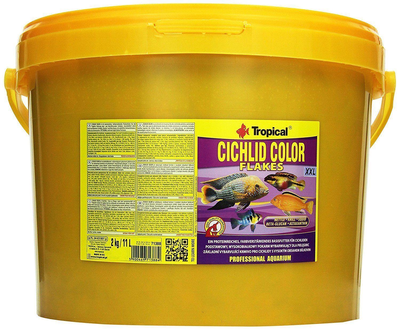 11 LITRI Tropical CICHLID colore FLAKES XXL farbfutter per spigole da SOLO FODERA