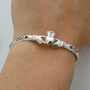 Irish Claddagh Celtic Knot Bangle Bracelet - 925 Sterling Silver - Love Gift NEW