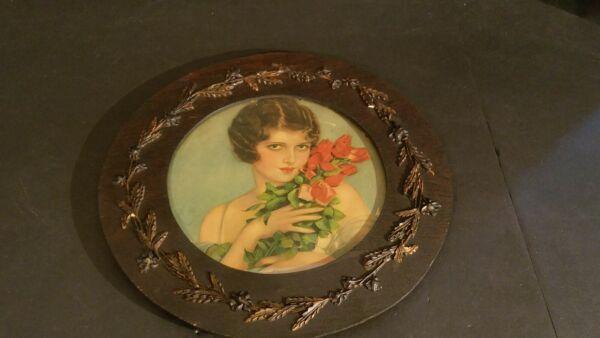 Antik Holz Eingerahmt Damen Mit Rosen Bild