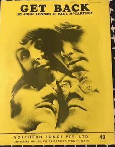 THE-BEATLES-Rare-1969-Australian-Only-OOP-Original-Sheet-Music-034-Get-Back-034-VGC