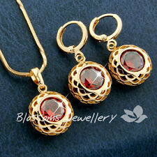 18K GOLD GF Solitaire Lab RUBY NECKLACE SET with SWAROVSKI CRYSTAL ES900R RED